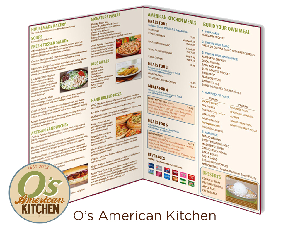 O's American Kitchen Menu Design