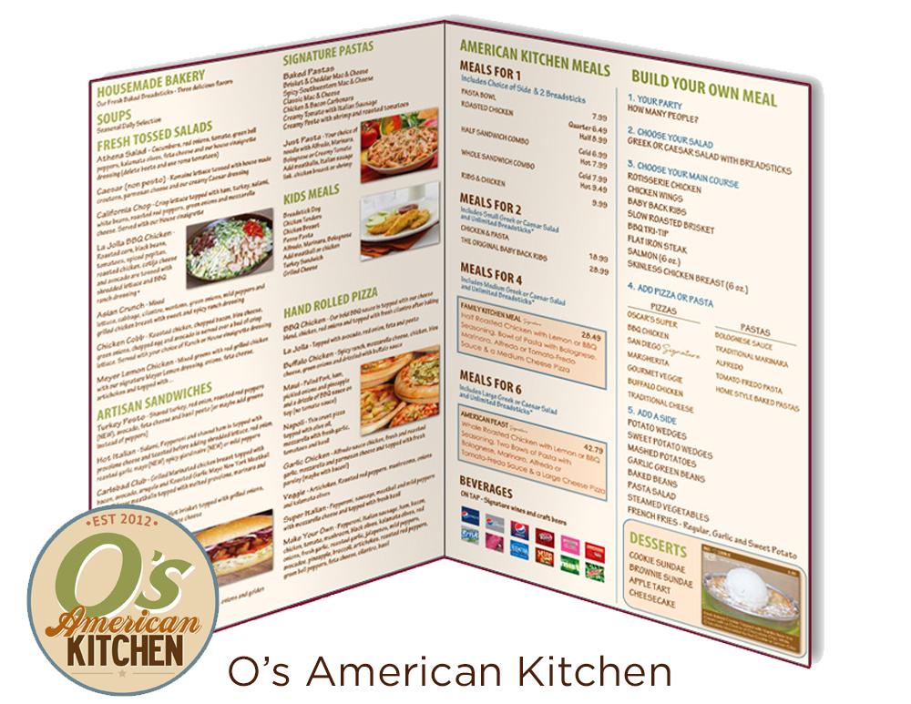 O's American Kitchen Menu Design