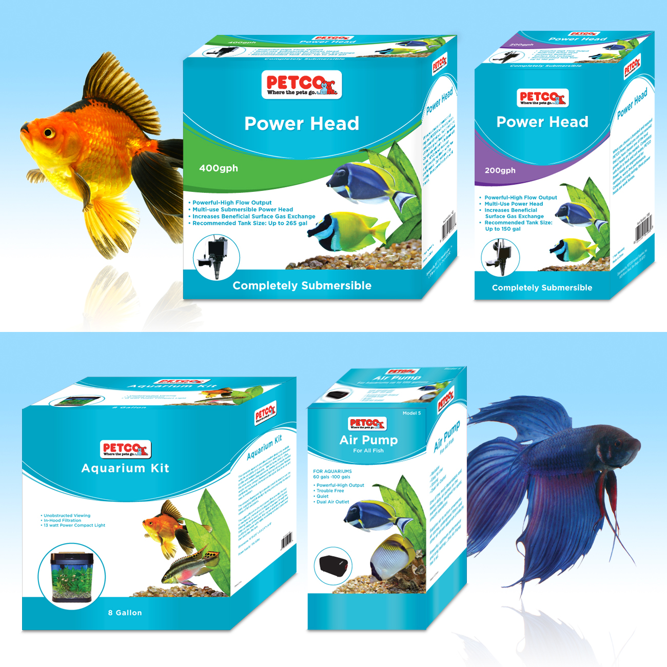 Petco® aquarium pumps packaging