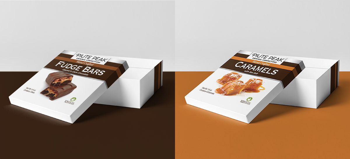 Piute Peak chocolate and caramel confections packaging design