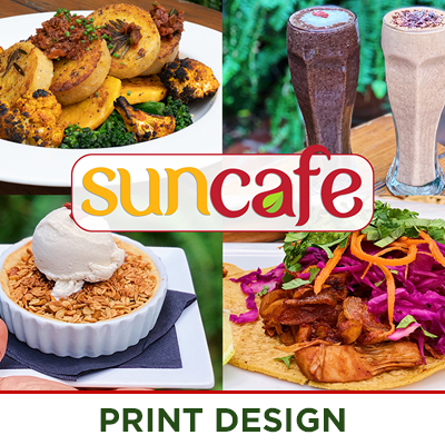 Vegan Restaurant Banners, Photography and Print Postcards