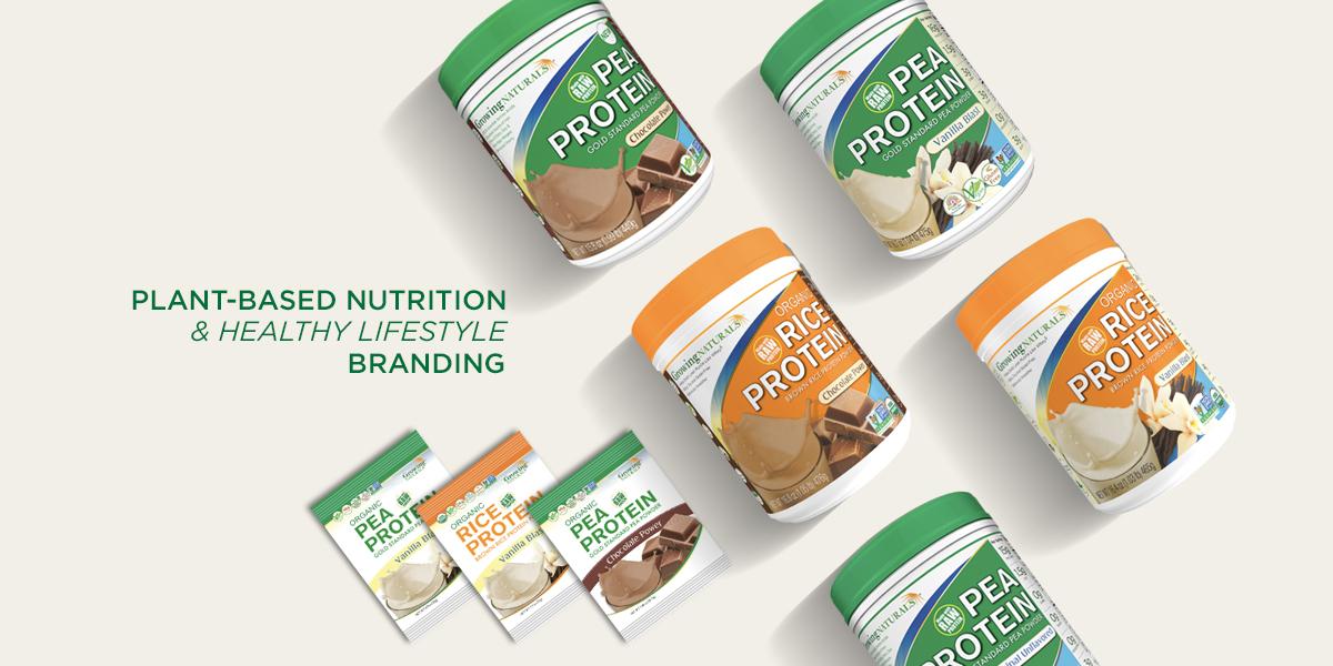 plant protein branding packaging banner