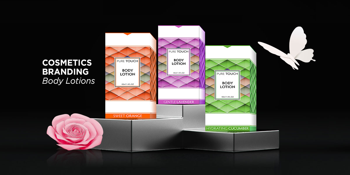 Cosmetics packaging design and production, Premium line of scented body lotions