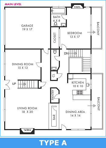 Floorplan type A: Standard black & white