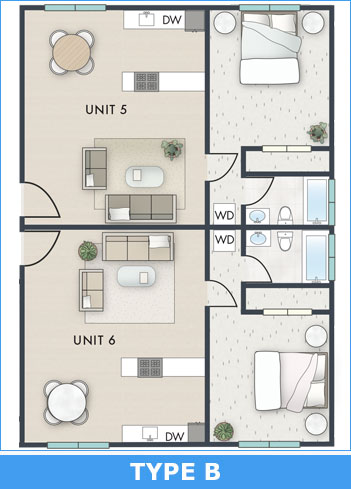 Floorplan type B: Colored and Staged Floorplan