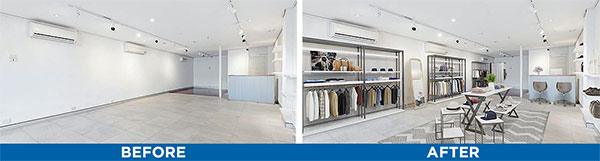 Retail store space virtual staging before and after photos