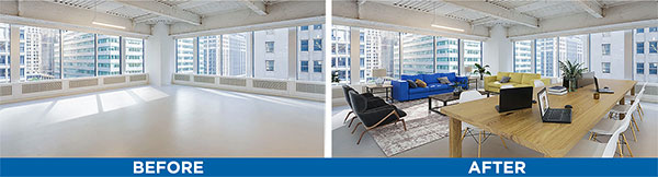 Industrial office space virtual staging before and after photos